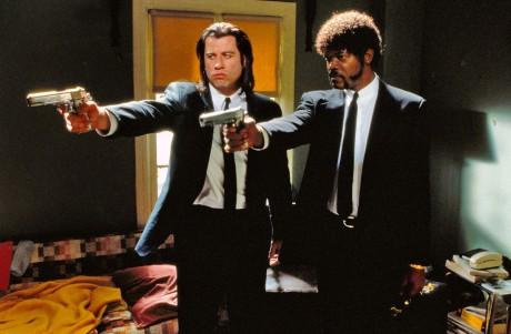 Still of John Travolta and Samuel L Jackson from Pulp Fiction
